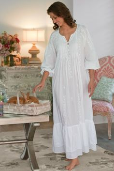 Gwyneth Gown - Cotton Nightgown, Tonal Embroidery, Three-quarter Length Sleeves | Soft Surroundings