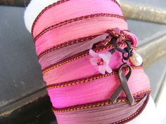 Hope Wrap Bracelet Breast Cancer Awareness by SoulsFireDesigns