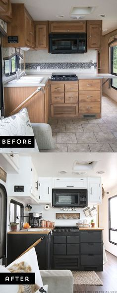 Modern camper remodels are the hottes -trend in tiny homes Are you thinking about updating the kitchen in your RV or camper? Come see how we made a huge impact in our motorhome with our RV kitchen renovation! Rv Campers, Camper Trailers, Travel Trailers, Rv Travel, Camper Van, Retro Campers, Shasta Trailer, Travel Gadgets, Truck Camper