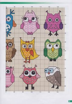 Owl cross stitch patterns part 1