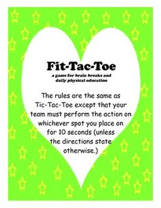 Fit-Tac-Toe: a game for brain breaks and daily physical ed
