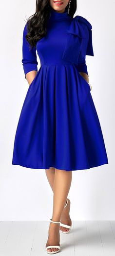 dress royal blue dress midi dress long sleeve dress party dress highwaist d Fashion Mode, Modest Fashion, Look Fashion, Women's Fashion Dresses, Womens Fashion, Winter Fashion, Fashion Ideas, Apostolic Fashion, Trendy Dresses