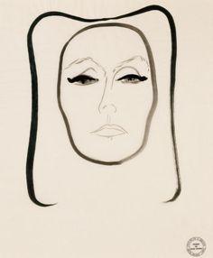 Garbo, drawing by Rene Gruau