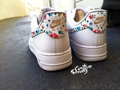 Nike Air Force 1 customs, AF1 custom, Air force Ones, All white floral design Nike custom, cute and trendy design