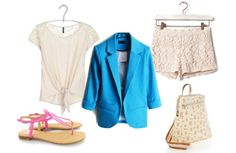 Tu estilista - Blazer azul shorts croche