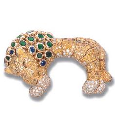 A RARE GEM-SET, DIAMOND AND COLOURED DIAMOND LION CLIP BROOCH, BY RENE BOIVIN Designed as a sleeping lion with pavé-set diamond paws and pavé-set coloured diamond and diamond articulated body to the bezel-set circular and oval-cut sapphire and emerald mane, mounted in 18k gold, circa 1960, with French assay mark for gold Signed René Boivin, Paris