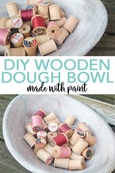 Learn how to make a DIY wooden dough bowl with an old bowl and some paint! This farmhouse style faux paint treatment wil. Edible Crafts, Easy Diy Crafts, Farmhouse Style Decorating, Farmhouse Decor, Country Farmhouse, French Country, House Wrap Around Porch, Fake Pumpkins, Weathered Paint
