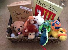 Dear zoo story basket for babies and toddlers Preschool Literacy, Preschool Books, Early Literacy, Literacy Bags, Literacy Stations, Kindergarten, Eyfs Activities, Animal Activities, Preschool Activities