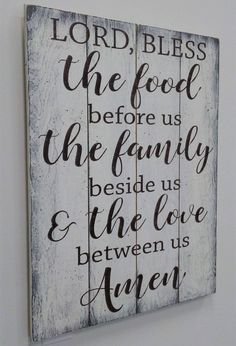 Lord Bless The Food Before Us Wood Pallet Sign Pallet Projects Signs, Wood Pallet Signs, Wooden Signs, Wood Projects, Woodworking Projects, Pallet Ideas, Wood Ideas, Woodworking Articles, Woodworking Inspiration