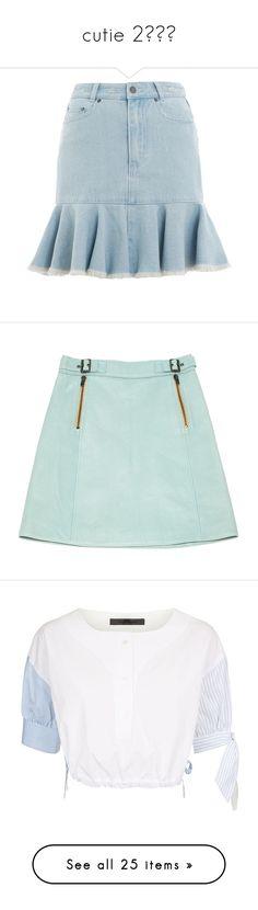 """cutie 2🎀🐻🐰"" by krystalyuke ❤ liked on Polyvore featuring skirts, blue, bottoms, blue knee length skirt, zimmermann skirt, flounce skirt, blue denim skirt, knee length denim skirt, green and women clothing skirts"