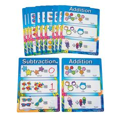 Seaside Learning Dry Erase Addition/Subtraction Sheets - OrientalTrading.com