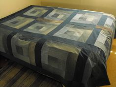 Recycled Denim into a Quilt.