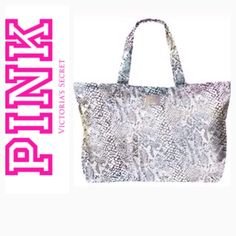 "NWOT Victoria Secret ""Pink"" Large Shoulder Bag Victoria Secret snakeskin, silver metallic tote travel bag. Never used. PINK Victoria's Secret Bags Travel Bags"