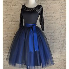 Navy Blue Tulle Skirt Tutu for Women Lined in Black Satin With a Navy... ($255) ❤ liked on Polyvore featuring skirts, grey, women's clothing, ballerina tutu, black tutu, black circle skirt, long tutu skirt and tulle tutu