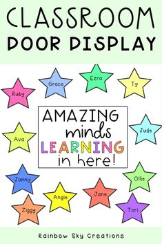 Editable Door Displays / Awesome learners Door Sign {Rainbow Theme} - Real Time - Diet, Exercise, Fitness, Finance You for Healthy articles ideas Classroom Display Boards, Classroom Door Signs, Classroom Walls, Classroom Organisation, Classroom Posters, Classroom Displays, Classroom Themes, Classroom Management, Organization