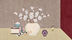 HANA SEO painting & illustration Japanese Art Styles, Korean Art, Magic Carpet, Chinese Style, Hana, Art Lessons, Oriental, Illustration Art, Doodles