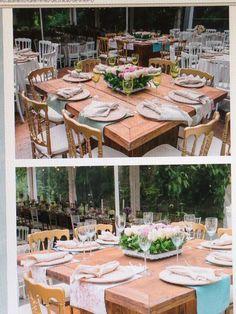 As mesas de madeira sem toalha ficam lindaaaas!