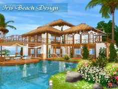 Iris Beach Found in TSR Category 'Sims 3 Residential Lots' Sims 3 Mansion, Beach Mansion, Small Beach Houses, Tropical Beach Houses, Sims 4 House Plans, Beach House Plans, Minecraft, Die Sims, Sims 4 House Design