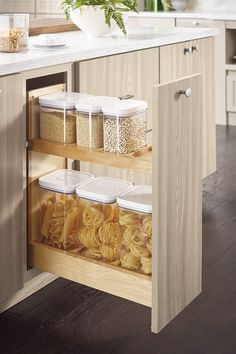 a great solution for the odd narrow cabinet :: Diamond Cabinetry through Lemongrass Interiors Canister Storage.a great solution for the odd narrow cabinet :: Diamond Cabinetry through Lemongrass Interiors Kitchen Pantry Cabinets, Kitchen Drawer Organization, Kitchen Drawers, Kitchen Cabinet Design, Kitchen Storage, Kitchen Furniture, Kitchen Interior, Kitchen Decor, Diamond Cabinets