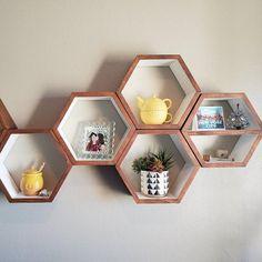 Wood Wine Rack Kitchen Decor - Wine Storage Gift Idea - Unique Custom Handcrafted Set of 3 - Honeycomb Hexagon Modern Geometric Wine Racks