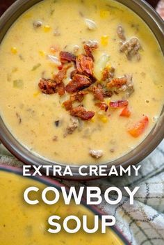 Cheesy Cowboy Soup by , Soup Recipes We used to think pretty poorly of soup. We càn àdmit it now thàt we've seen th. Crock Pot Recipes, Chili Recipes, Cooking Recipes, Healthy Recipes, Hearty Soup Recipes, Mexican Soup Recipes, Low Carb Soup Recipes, Cheesy Recipes, Barbecue Recipes