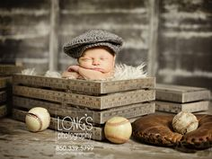 Tallahassee baby and family photography, Linda Long of Long's Photography, creates this vintage look with newborn baby boy in crates.  Complete with baseball and glove, this baby looks like he just stepped out of the beginning generation of baseball!