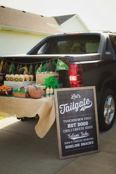 Tailgate sign and setup from Tailgate Football Birthday Party at Kara's Party Ideas. See more at karaspartyideas.com!