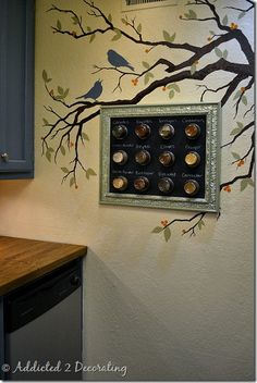 Framed Magnetic Chalkboard Spice Rack -
