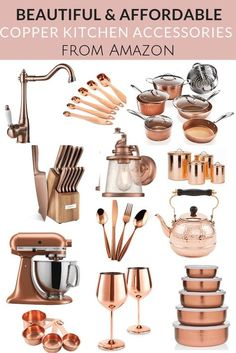Beautiful and Affordable Copper Kitchen Essentials Copper Kitchen Accents, Copper Kitchen Accessories, Copper Kitchen Decor, Copper Decor, Home Decor Kitchen, Home Kitchens, Western Kitchen Decor, Kitchen Rustic, Farmhouse Kitchens