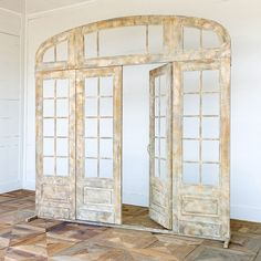 This metal facade features a hinged double door with side window pane panels with top transom and is finished in a weathered aged patina. Modeled as though it were salvaged from a stunning french chateau. Metal Awning, Metal Facade, Farmhouse Style Decorating, French Country Decorating, Country French, Country Style, Wood Floor Pattern, Salvaged Decor, Outdoor Pavilion