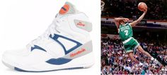 """In 1989 Reebok introduced """"The Pump"""" that featured a round orange pump on the tongue that inflated the air cushion which was supposed to increase jumping ability. Dee Brown pumped up his Reeboks right before he took off to make some spectacular Dunks in the Slam Dunk Contest of 1991 which he went on to win"""
