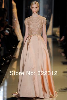 abfeb406a2 Aliexpress.com   Buy 2014 Elie Saab Couture Champagne Satin with Tulle  Short Sleeve Beaded