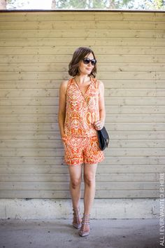 Orange paisley shorts and top Lindex Holly&Whyte, bag Lumi Accessories, heels nude Valentino rockstud