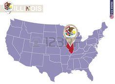 Estado de Illinois en EE.UU. mapa. bandera de Illinois y el mapa. Estados Unidos.