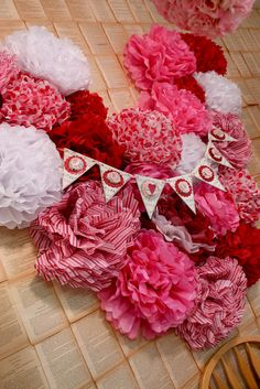 Obsessed with this tissue pom heart backdrop Blush and Bashful: The land of LOVIN'
