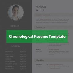 Is there any better way to present your rich work experience than using a reverse chronological resume template? Using the timeline resume structure, candidates can easily highlight their work experience and set their previous jobs apart from one another. Chronological Resume Template, Resume Structure, Resume Skills Section, Resume Templates, Timeline, Photoshop, Writing, Highlight, Lights