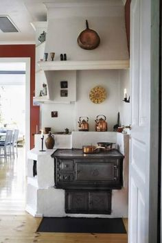 Old wood stove in Swedish home.