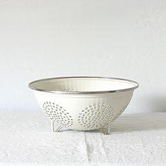 Vintage White Enamelware Colander Strainer Cookware by jillbent
