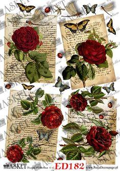 motywy do decoupage - róże pąsowe