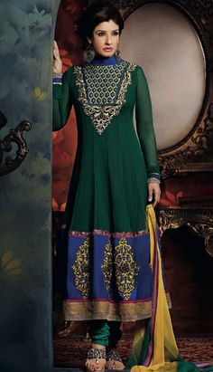 Buy Indian Petrol Green Georgette Anarkali Suit Online  #AnarkaliSuit Link- http://alturl.com/odkqb