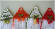 Crochet Crafts, Yarn Crafts, Fabric Crafts, Crochet Projects, Diy And Crafts, Kitchen Towels Crafts, Towel Crafts, Crochet Curtains, Crochet Tablecloth