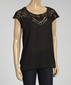 Another great find on #zulily! Black Semi-Sheer Lace Embellished Cap-Sleeve Top #zulilyfinds