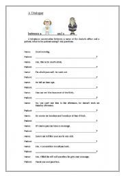 English worksheet: A dialogue between a nurse and a patient