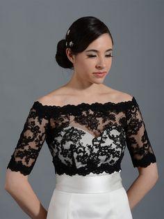 Black Off-Shoulder Alencon Lace Bridal Bolero Wedding jacket