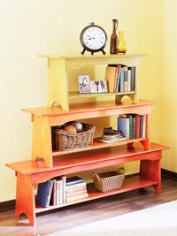Love this idea for creating a storage bookcase using three varying sized benches and painting them in different colors. Stack and secure the benches together after painting. Discover more kids room decorating and organizing tips and ideas @ http://kidsroomdecorating.net