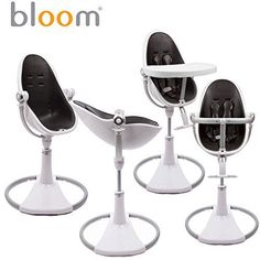 bloom fresco black chrome baby high chair - red seat   diddle