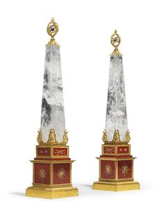A PAIR OF ITALIAN ROCK CRYSTAL, ORMOLU AND HARDSTONE OBELISKS BY A. CODOGNATO, VENICE. Each base stamped 'A CODOGNATO' - Dim: 30 1/2 in. (77.5 cm.) high; 6 1/4 in. (16 cm.) square.