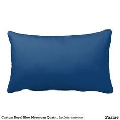 Custom Royal Blue Moroccan Quatrefoil Print Pillow