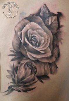 Black and grey rose done by Trevor Jameus #ascendingkoi #trevorjameus #calgarytattoos #roses #greywash #monochrome