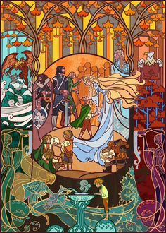 Lord of the Rings illustrations by Jian Guo, #3 Welcome from Lothlorien.